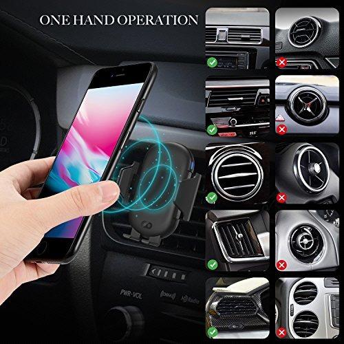 con receptor compatible para todos los tel/éfonos inteligentes Cargador inal/ámbrico r/ápido para autom/óvil apertura autom/ática y abrazadera Montaje de ventilaci/ón para auto Rotaci/ón de 360 /°