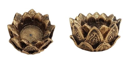 incensário e castiçal flor de lotus em resina 5cm. kit c/2