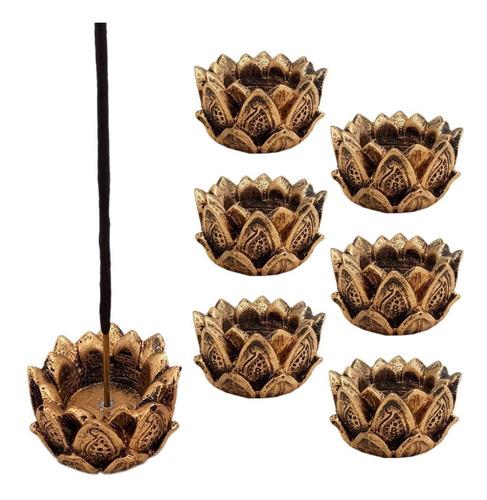 incensário e castiçal flor de lotus em resina 5cm. kit c/6