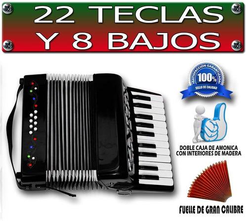 increible acordeon profesional con 22 teclas y 8 bajos