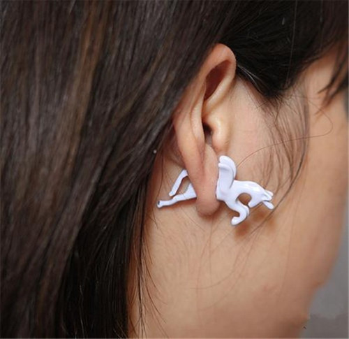 increible arete unicornio blanco diseño exclusivo e-015