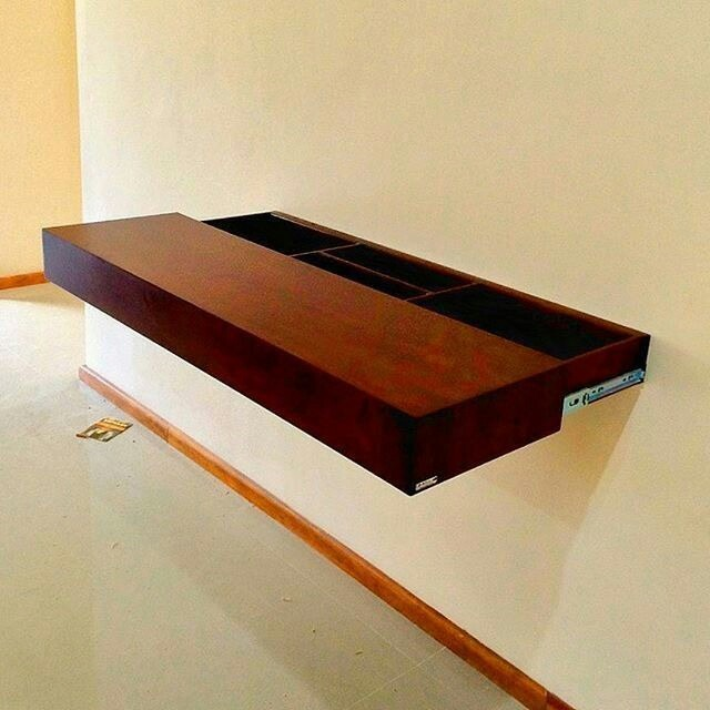 Increible repisa flotante con cajones ocultos 100 madera for Bar flotante de madera