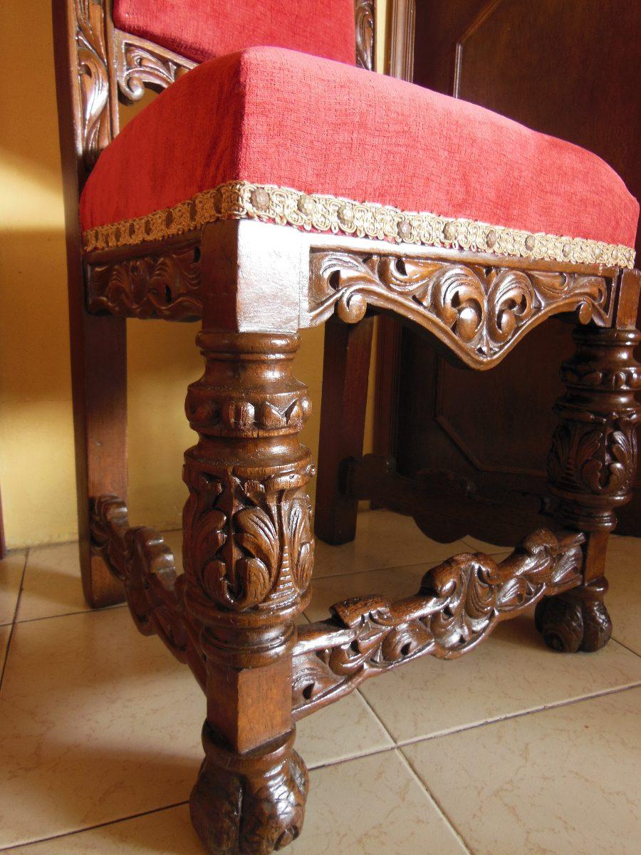 increible silla colonial espaola fabricada en cedro