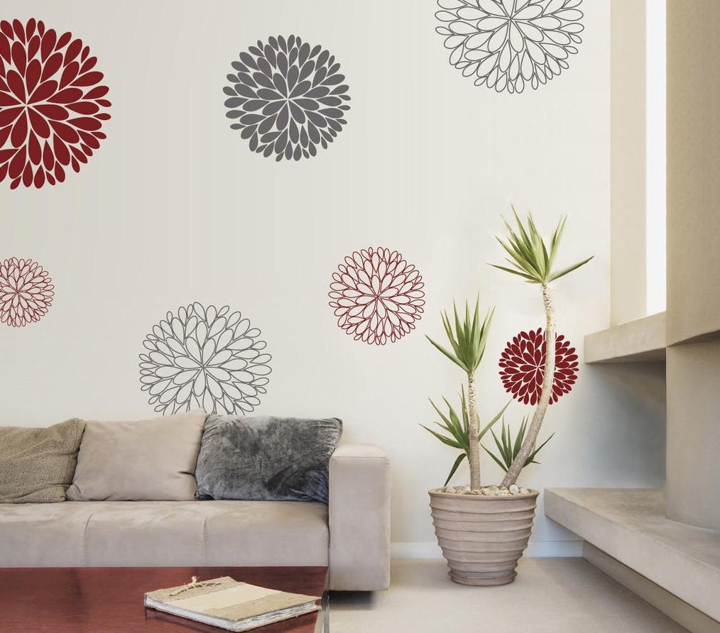 Incre ble vinilo decorativo flores 7 piezas en for Vinilos para piezas