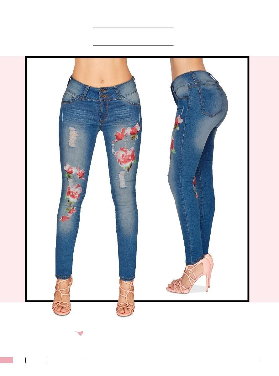 00 Increíbles Con En Moda Flores Jeans Stretch De Cklass659 FKlcTu1J35