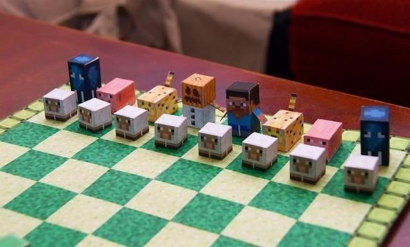 Incr vel jogo de xadrez minecraft papercraft frete gr tis for Set completo di piani casa pdf