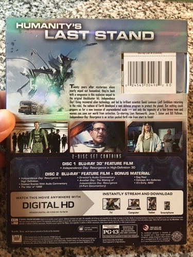 independence day : resurgence blu ray 3d +2d - cuotas s/in