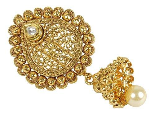 indian estilo tradicional stuning oro tono kundan stud pin