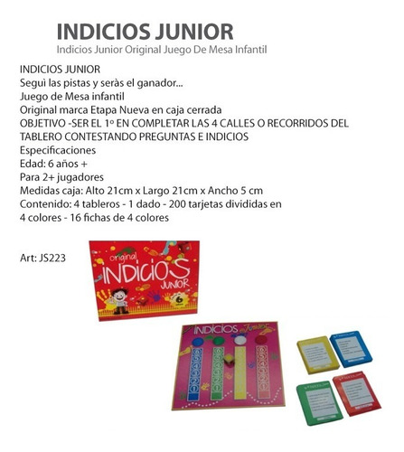 indicios junior original juego de mesa infantil