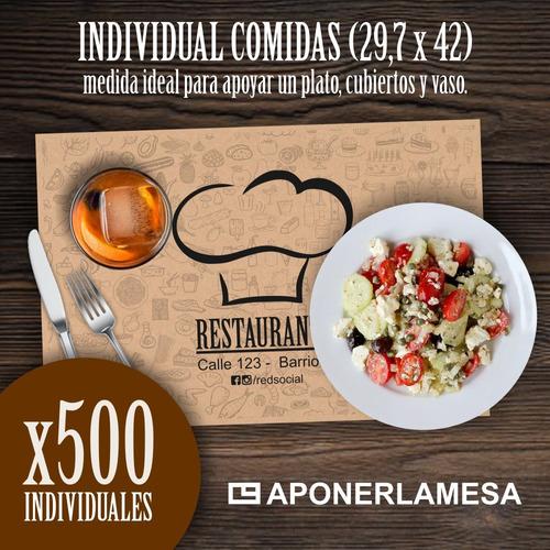 individual descartable personalizado comidas x 500