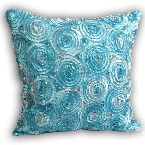 (individual) dos tonos 3d ramo de rosas azules throw cojín