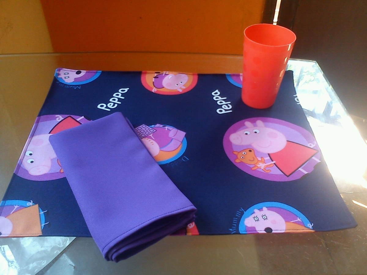 Individual infantil de tela con servilleta para - Como hacer manualidades de tela ...