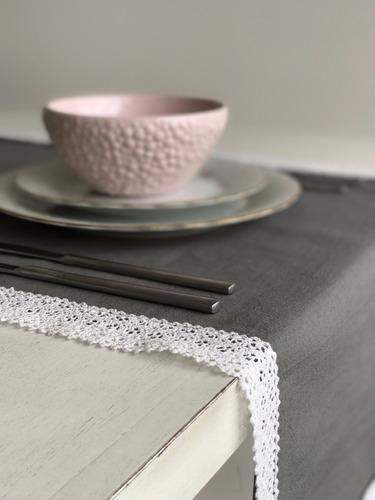 individuales caminos de mesa doble gris con puntilla