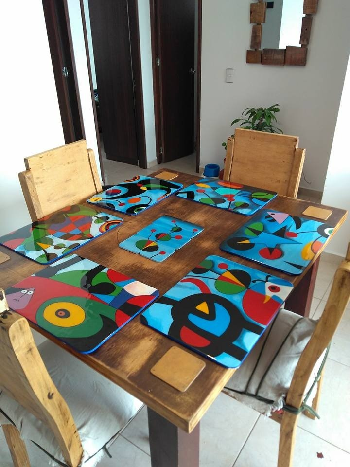 Individuales en madera resinados pintados a mano 30 - Muebles de madera pintados a mano ...