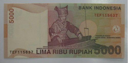 indonésia: linda cedula 5.000 rupiah 2001 - fe