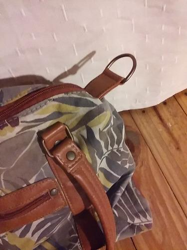 indumentaria cartera bolso tela estampada y cuero sintetico