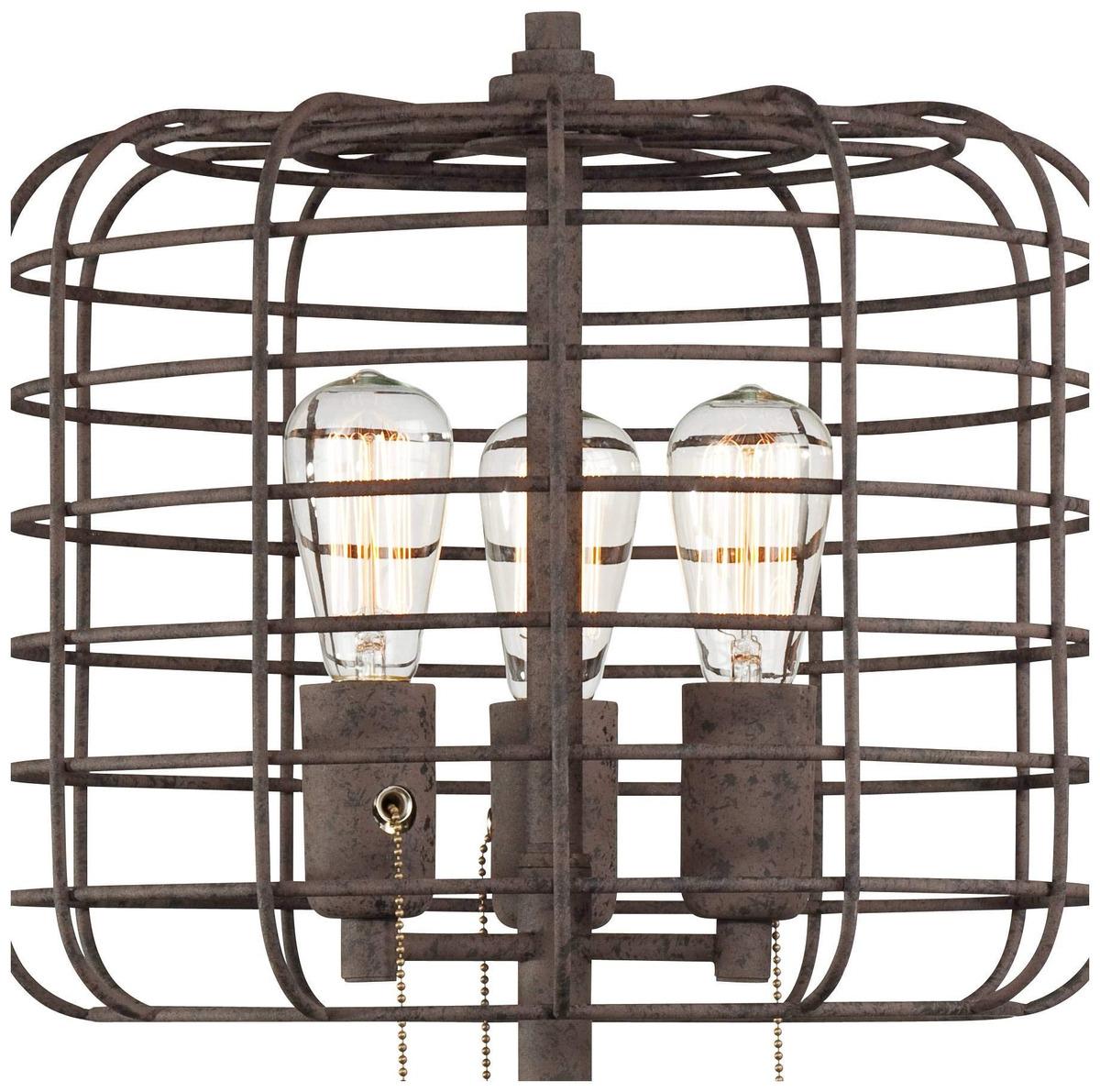 Industrial Table Lamp Rustic Metal Cage Accent Edison Bulb F 1 227 900 En Mercado Libre