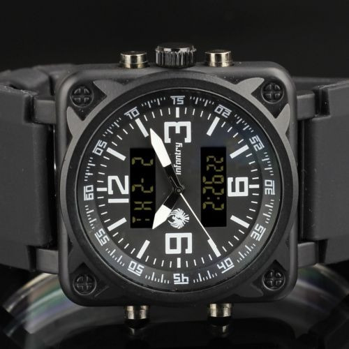 infantería mens lcd digital cuarzo pulsera reloj cronógrafo