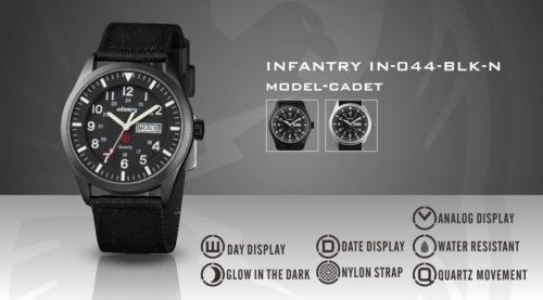 infantería para hombre cuarzo pulsera reloj fecha día deport