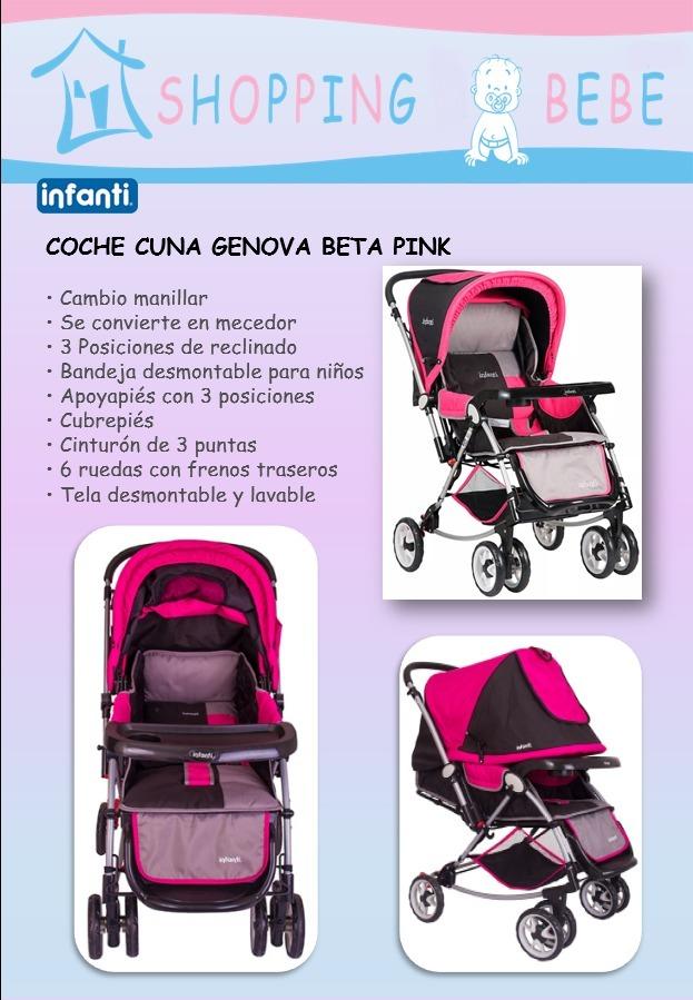 a55d5116f Infanti - Coche Cuna Genova Beta Pink - S/ 479,00 en Mercado Libre