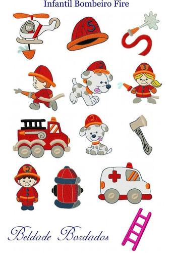 infantil bombeiro fire - coleção de matriz de bordado