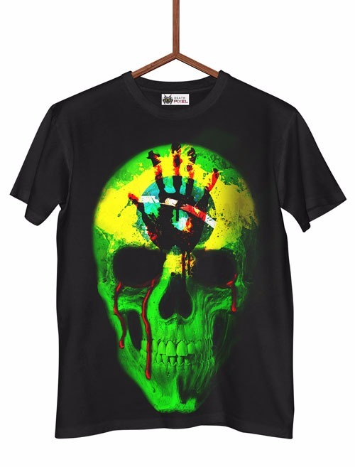 2ad4939dc Infantil Camisa Camiseta Caveira 3d Brasil Bandeira Sangue - R  39 ...