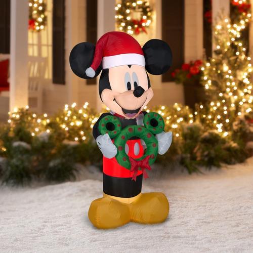 inflable de mickey mouse navideño de 1,52 metros con luz!