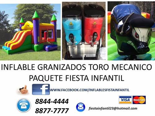 inflable de piscina con toro mecanico y granizados