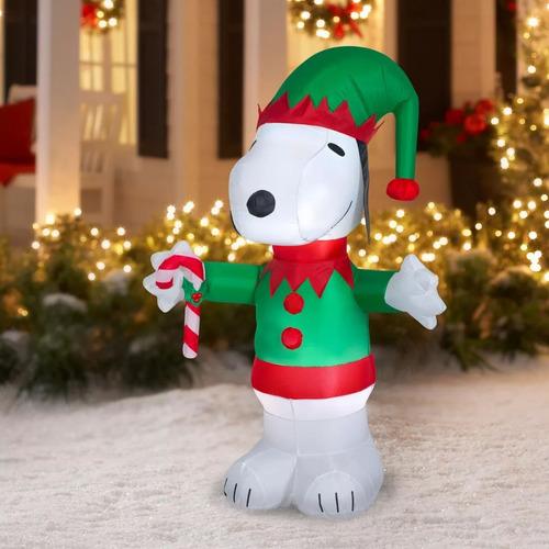 inflable de snoopy navideño con gorro de 1,52 metros con luz