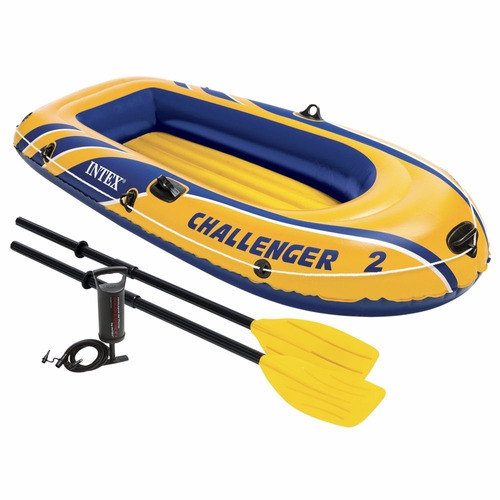 inflable intex challenger 2, 2-person inflatable boat set
