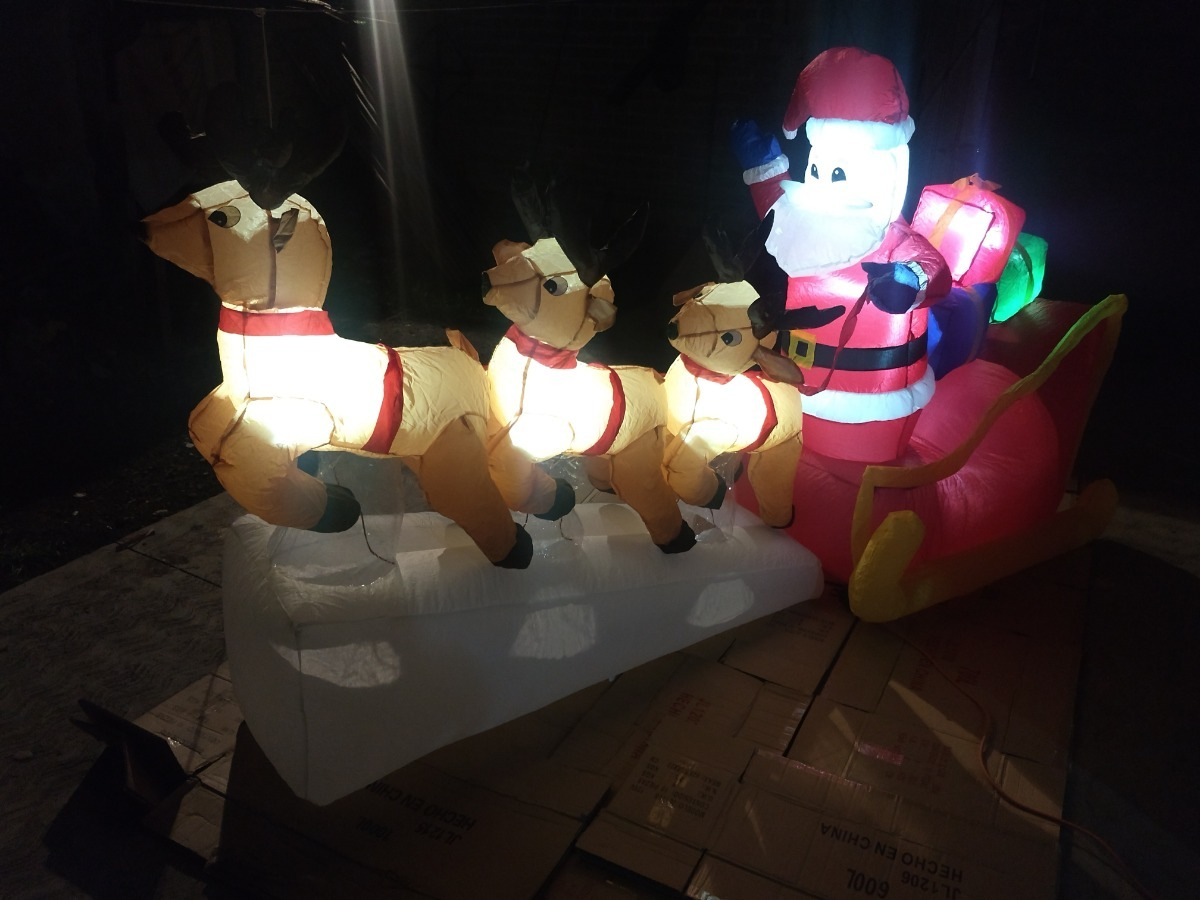 e4270612767 Inflable navidad santa trineo con renos luces led cargando zoom jpg  1200x900 Luces led trineo de