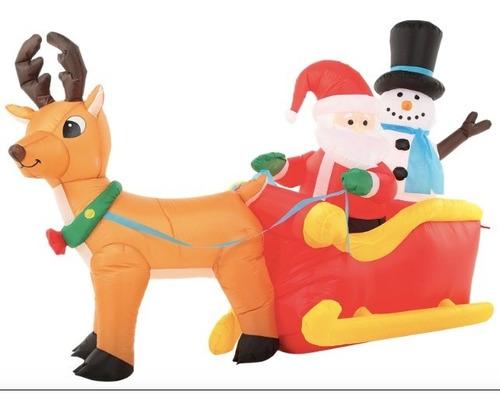 inflable navidad santa y muñeco nieve en trineo 2m envio