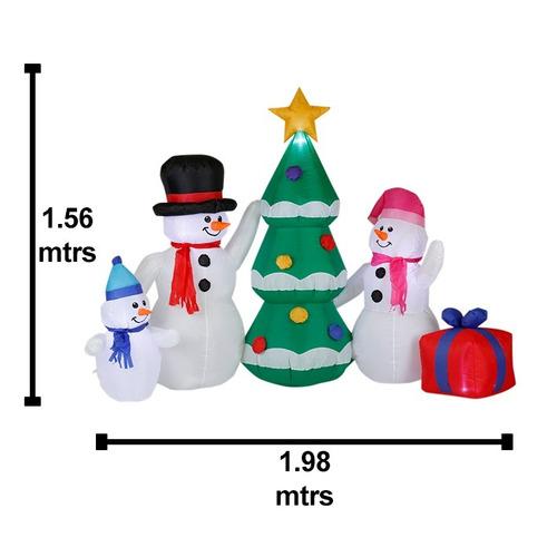 inflable navideño con luz familia muñecos de nieve con envío