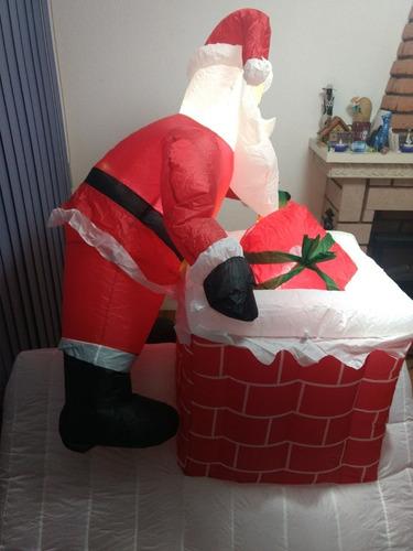 inflable navideño santa en chimenea con movimiento