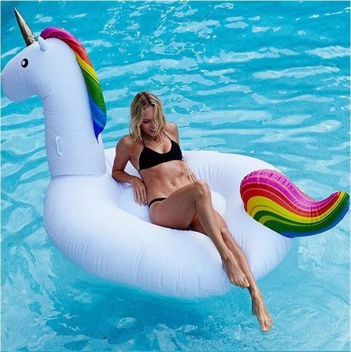 inflable pileta unicornio gigante descansar 140x265x115