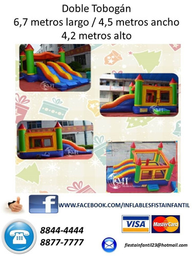 inflable piscina doble tobogan