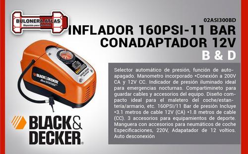 inflador 160psi 11 bar 12v asi300 black and decker