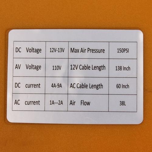 inflador casa carro tienda garantia 12v 110v