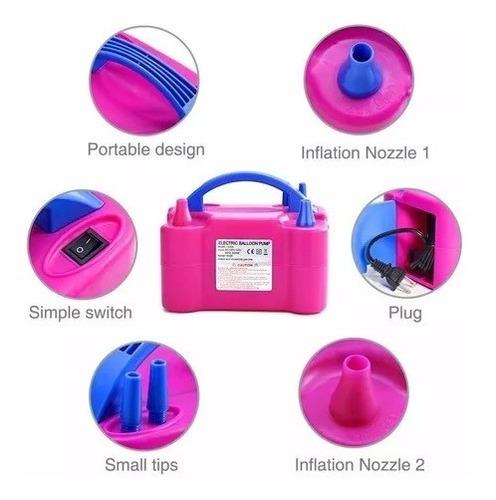 inflador de globos eléctrico portatil doble boquilla