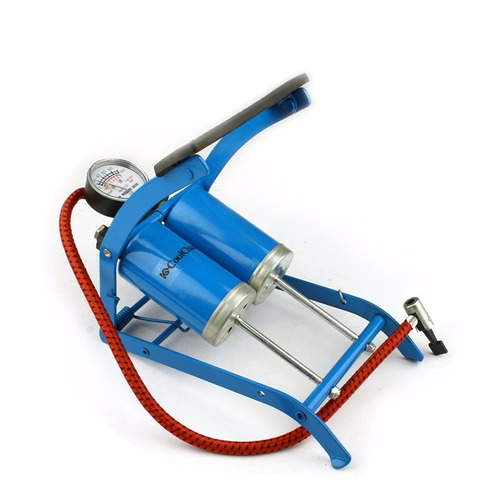 inflador de pie manómetro 2 cilindro con picos; pelota, bici
