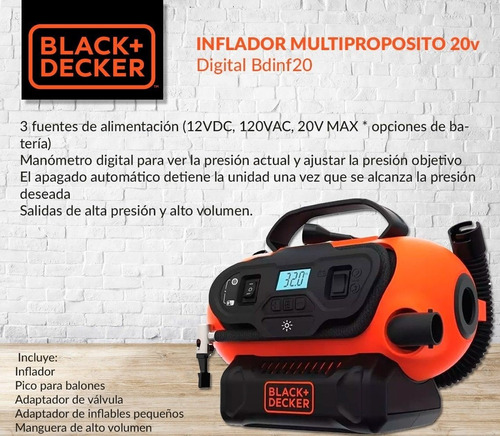 inflador inalambrico bateria 20v black + decker