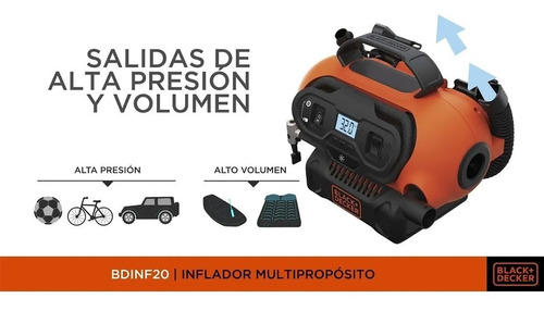 inflador multiproposito black decker digital auto 220v y 12v