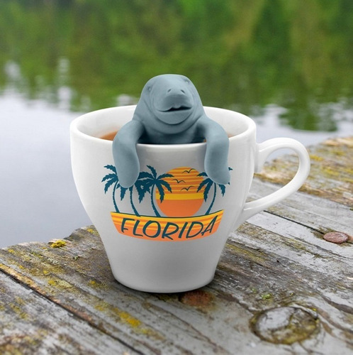 infusor de silicón para té modelo manatí color gris