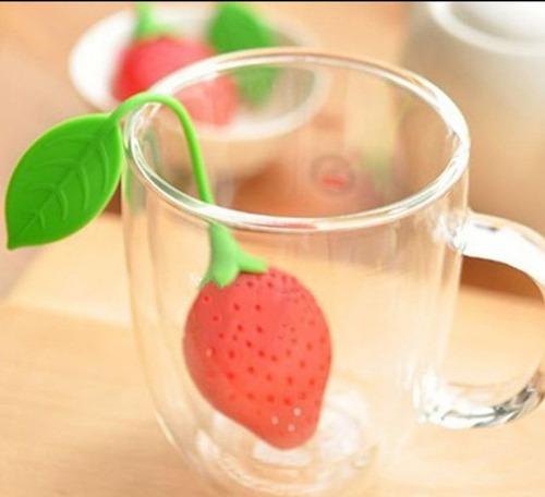 infusor de té fresa taza bebida caliente rojo fruta nuevo