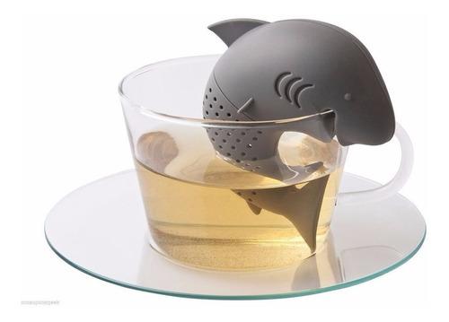 infusor de té tiburón de silicón gris