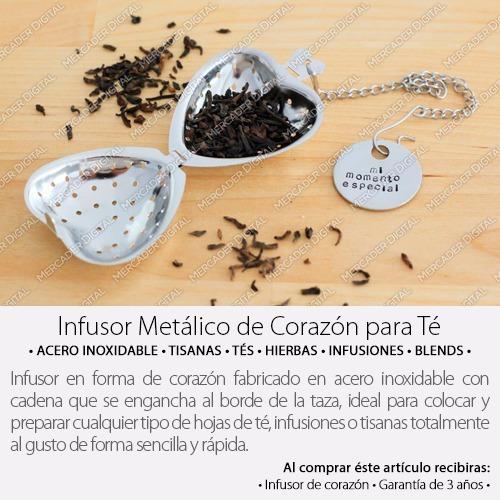 infusor té de corazón acero inoxidable tisana infusión tés