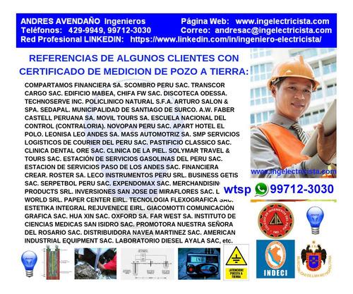 ingeniero electricista, colegiado certificado de pozo tierra