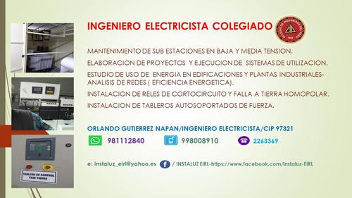 ingeniero electricista colegiado habilitado,planos electrico
