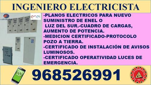 ingeniero electricista, independizacion de medidores, planos