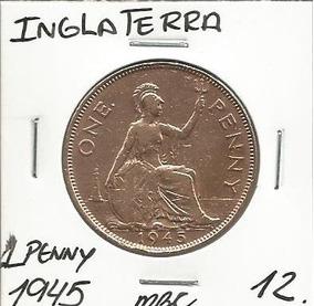 Inglaterra 1 Penny 1945 Bronze Mbc -g1324
